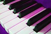 Orchestra Digital Art Metal Prints - Piano Keys . v2 . Purple Metal Print by Wingsdomain Art and Photography