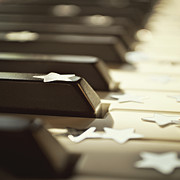 Musical Photos - Piano Keys And Stars by Photo - Lyn Randle