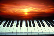 Musical Instruments Photos - Piano keys sunset by Garry Gay