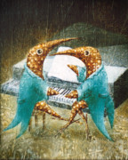Surrealistic Painting Prints - Piano lessons Print by Lolita Bronzini