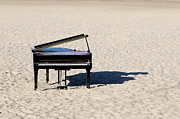 Shadow Metal Prints - Piano On Beach Metal Print by Hans Joachim Breuer