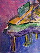 Grand Piano Framed Prints - Piano Purple - cropped Framed Print by Anita Burgermeister