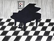Tiles Drawings - Piano Room by Cathy Jourdan