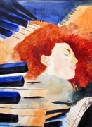 Jazz Artwork Painting Originals - Piano by Sandy McIntire