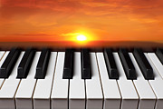 Sun Sky Clouds Posters - Piano sunset Poster by Garry Gay