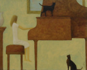 Girl Playing Piano Paintings - Piano Two Cats by Glenn Quist