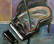 High-heel Posters - Piano with High Heel Poster by Anita Burgermeister