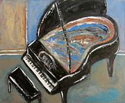 Piano Keys Painting Originals - Piano With Spiky Heel by Anita Burgermeister