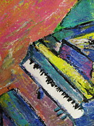Grand Piano Prints - Piano with Yellow Print by Anita Burgermeister