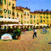 Lucca Framed Prints - Piazza Amphiteatro Lucca Tuscany Framed Print by Ozborne-Whilliamsson