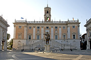 Sculptures Framed Prints - Piazza del Campidoglio. Capitoline Hill. Rom Framed Print by Bernard Jaubert