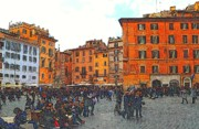 Crowd Scene Digital Art - Piazza della Rotunda in Rome 2 by Jen White