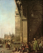 Piazza San Marco Framed Prints - Piazza di San Marco and the Colonnade of the Procuratie Nuove Framed Print by Canaletto