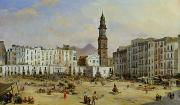 Town Square Painting Posters - Piazza Mazaniello in Naples Poster by Jean Auguste Bard