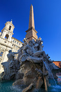 Roman Streets Prints - Piazza Navona Fountain Print by Inge Johnsson