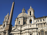 Historical Buildings Prints - Piazza Navona. Navona Place. Church St. Angnese in Agona and egyptian obelisk. Rome Print by Bernard Jaubert