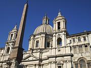 Piazza Navona. Navona Place. Church St. Angnese In Agona And Egyptian Obelisk. Rome Print by Bernard Jaubert
