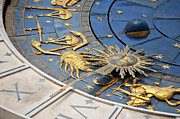 Roman Numeral Prints - Piazza (square) San Marco, Clock Tower Detail Print by Maremagnum