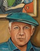 Pablo Picasso Prints - Picasso and His Masterpiece Print by Dyanne Parker