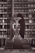 Art Sculpture Prints - Picasso Chicago BW Print by Steve Gadomski