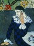 Picasso Paintings - Picasso Harlequin 1901 by Granger