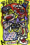 Neo Expressionism Mixed Media Framed Prints - Picasso Has Left The Building Framed Print by Robert Wolverton Jr