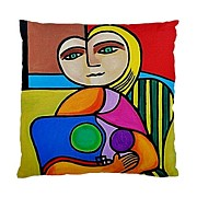 Bright Tapestries - Textiles Originals - Picasso Style Double Sided Art Pillow Cover No 1  by Janine Antulov