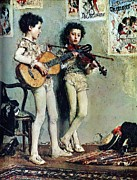 Guitar Players Framed Prints - Piccoli  Saltimbanchi  Suonatori Framed Print by Pg Reproductions