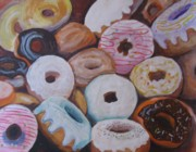 Donuts Painting Posters - Pick Just One Poster by Maria Milazzo