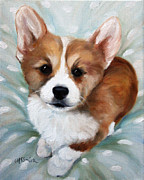 Corgis Framed Prints - Pick Me Framed Print by Mary Sparrow Smith