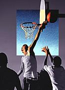 Hoops Drawings Framed Prints - Pick Up Game Framed Print by Gerard Fritz