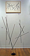 Steel Abstract Sculpture Posters - Pick Up Sticks and Thunderbird Poster by John Neumann