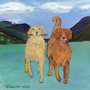 Retrievers Paintings - Pick-Up Sticks by Pat Saunders-White