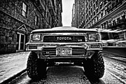 Mono Framed Prints - Pick up truck on a New York street Framed Print by John Farnan