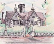 Old Houses Drawings - Pickering House Salem MA by Paul Meinerth