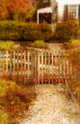 Picket Fence Prints - Picket Fence and Cottage Print by Jill Battaglia