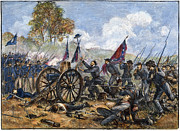 Confederate Flag Framed Prints - Picketts Charge, 1863 Framed Print by Granger