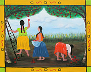Apron Mixed Media Posters - Picking Apples Poster by Sonia Flores Ruiz