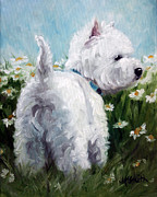 Westie Puppies Posters - Picking Daisies Poster by Mary Sparrow Smith