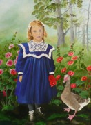 Mother Goose Painting Framed Prints - Picking Flowers Framed Print by Virginia Sincler