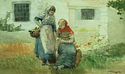 Gouache Paintings - Picking Flowers by Winslow Homer