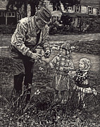 Sentimental Drawings Posters - Picking Flowers with Grandpa Poster by Robert Goudreau