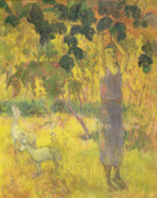 Exotic Leaves Posters - Picking Fruit from a Tree Poster by Paul Gauguin