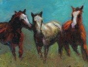 Herd Of Horses Paintings - Picking On The New Guy by Frances Marino