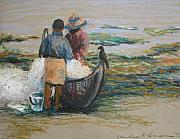Fishing Pastels - Picking out the Fish by Art Nomad Sandra  Hansen