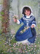 Miniatures Art - Picking Periwinkles by Joan Cornish Willies