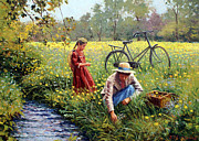 Mother And Daughter Painting Posters - Picking Yellow Flowers Poster by Roelof Rossouw