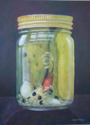 Hot Peppers Painting Originals - Pickle Jar by Sherrill Hull