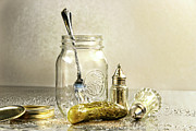 Grey Background Prints - Pickle with a jar and antique salt and pepper shakers Print by Sandra Cunningham