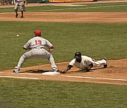 Base Ball Originals - Pickoff Move to 1st Base by Mark Hendrickson